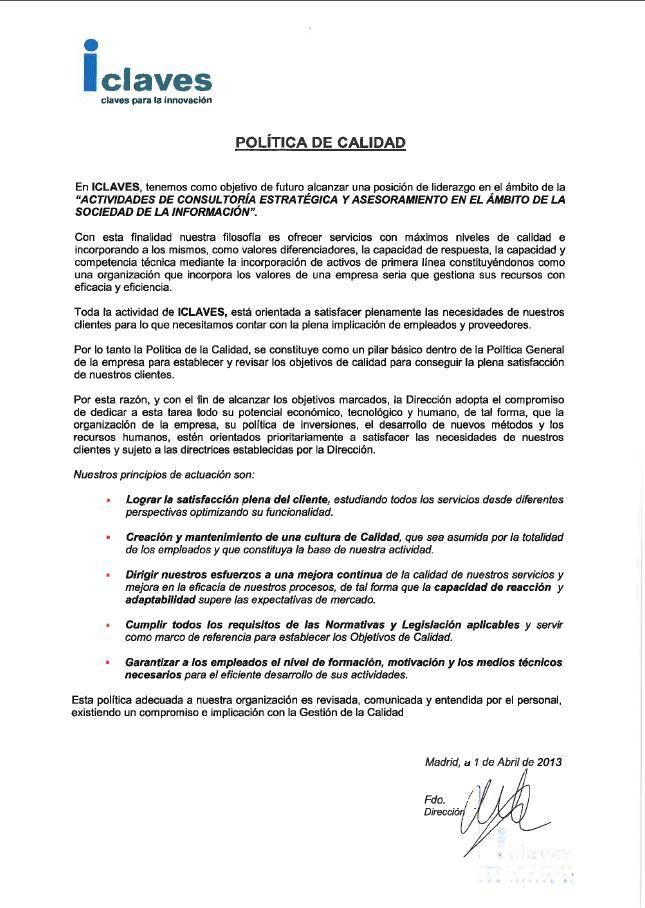politicaCalidad